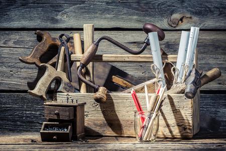 Vintage small carpentry workshop Archivio Fotografico