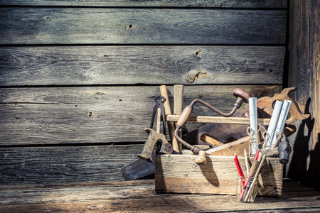 Wooden vintage carpenter drawing desk Stock Photo - 37062809