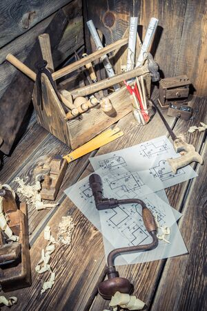 carpenter's sawdust: Old drawing desk in carpenter workshop