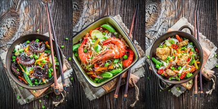 Three noodles with seafood photo