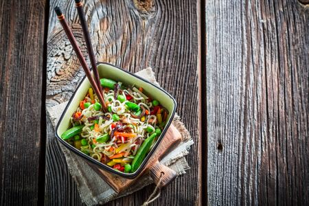 chinese noodles: Chinese noodles and vegetables Stock Photo
