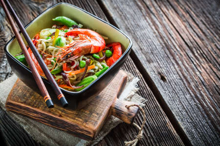 chinese noodles: Chinese noodles, vegetables and shrimps Stock Photo