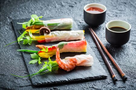 Spring rolls with vegetables with sauce photo