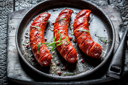 Grilled sausage with fresh herbs