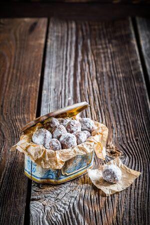chocolate balls: Sweet chocolate balls with powder milk Stock Photo