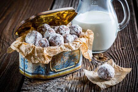 chocolate balls: Homemade sweet chocolate balls with powder milk