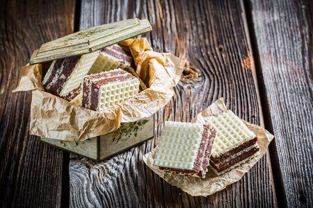 wafers: Sweet wafers with chocolate and hazelnut Stock Photo