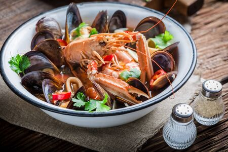 seafood soup: Tasty seafood soup with mussels and langoustines