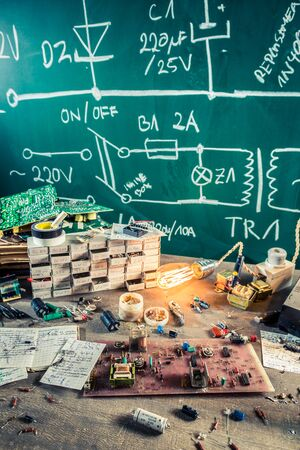 electronics parts: Electronics parts on workplace in school lab Stock Photo