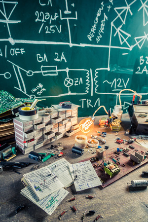 electronics parts: Electronics parts on workplace in laboratory