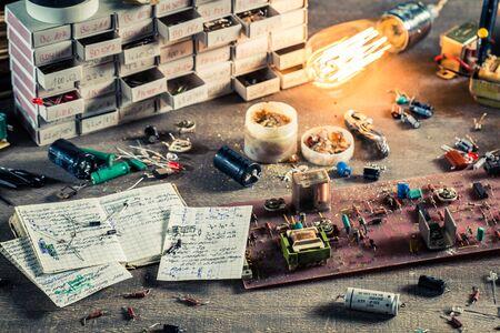 electronics parts: Vintage electronics parts on workshop in school lab