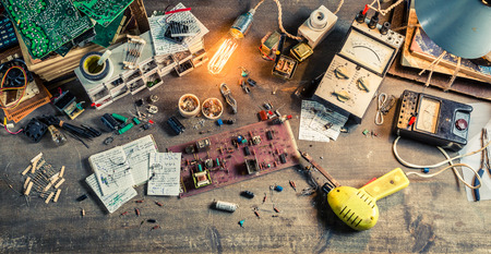 electronics parts: Vintage electronics parts on workplace in laboratory
