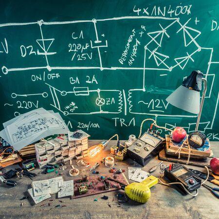 electronics parts: Retro electronics parts on workshop in physics lab
