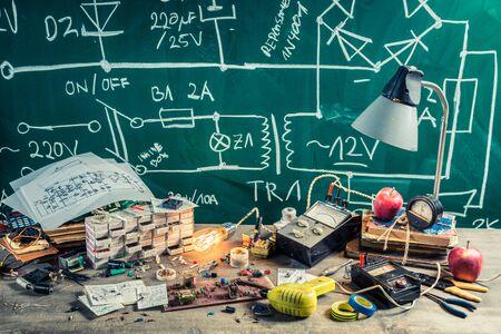electronics parts: Retro electronics parts on workshop in laboratory