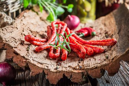 pantry: Tasty kabanos sausages in pantry