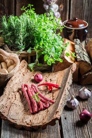 pantry: Homemade kabanos sausages in pantry
