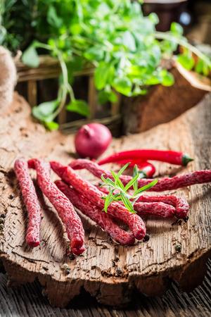 pantry: Fresh thin sausages in pantry