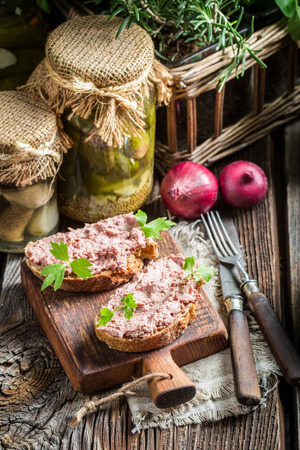 pate: Tasty pate on sandwich Stock Photo