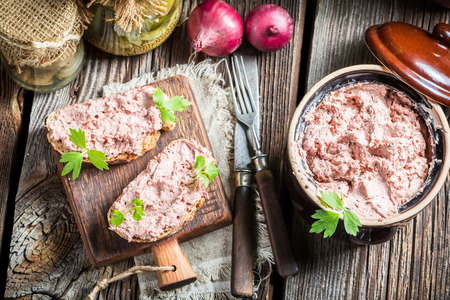 pate: Homemade pate with parsley