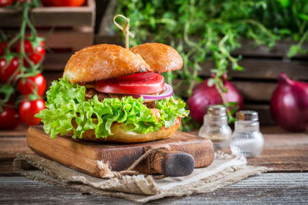 Delicious burger with vegetables photo
