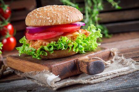 chicken burger: Tasty burger with vegetables