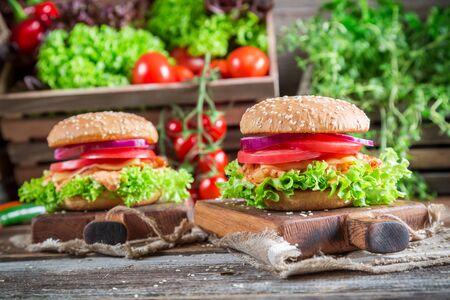 Fresh burger with chicken photo