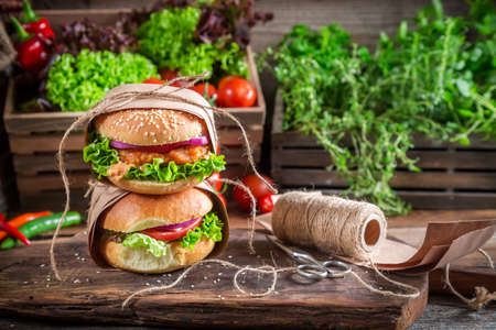 Takeaway homemade burgers photo