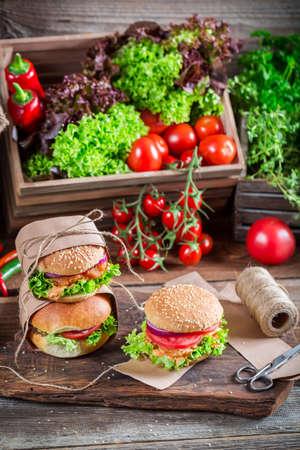 Delicious takeaway hamburger photo