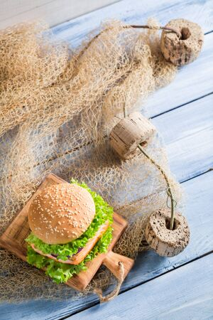 salmon fishery: Fresh sandwich with fish and vegetables Stock Photo