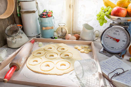 rustic kitchen: Baking sweet donuts in the rustic kitchen