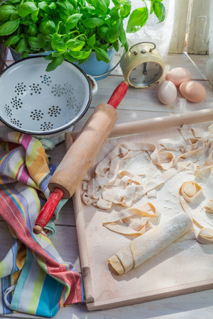 preparations: Preparations for pappardelle in the sunny kitchen