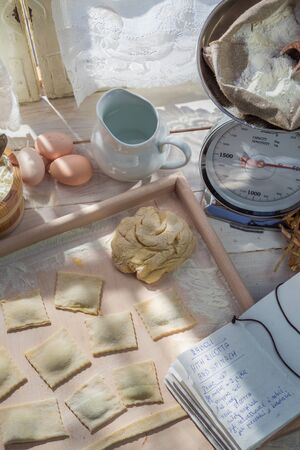 preparations: Preparations for ravioli made of spinach and ricotta