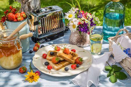 breakfast garden: Summer breakfast in the garden with fruit toast with honey