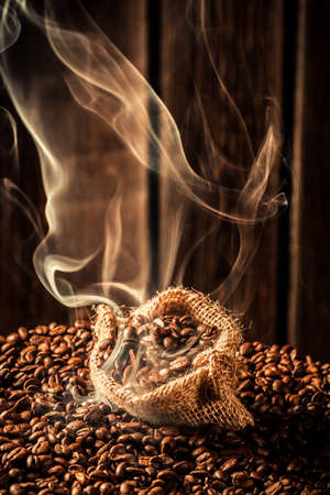 attar: Coffee bag full of fragrance roasted grains Stock Photo