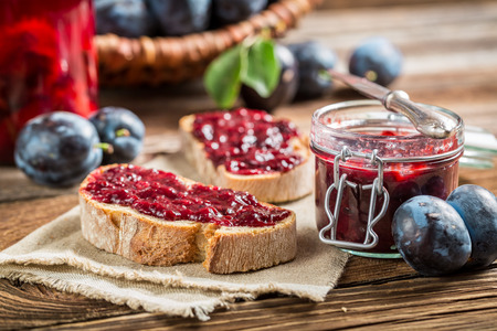 Sandwich with plum jam Stock Photo