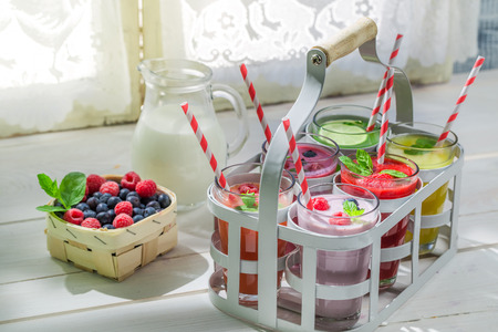 Homemade smoothies with fruits