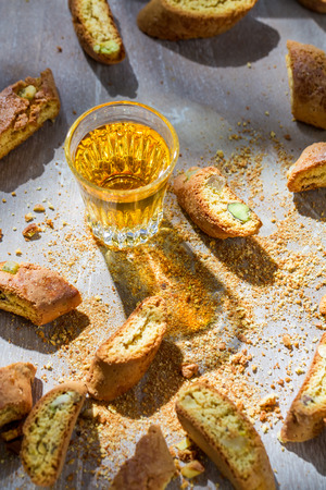santo: Tough and sweet biscotti with Vin Santo Stock Photo