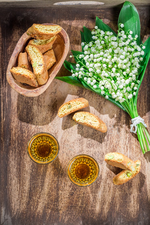 santo: Sweet biscotti with Vin Santo Stock Photo