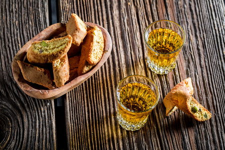 vin: Crispy cantucci with Vin Santo Stock Photo