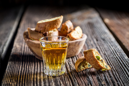 sweet pastries: Crispy cantucci with wine Stock Photo