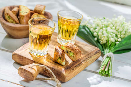 vin: Sweet cantucci with Vin Santo Stock Photo