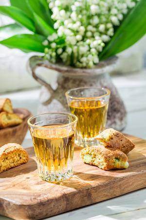 vin: Delicious cantuccini with Vin Santo Stock Photo