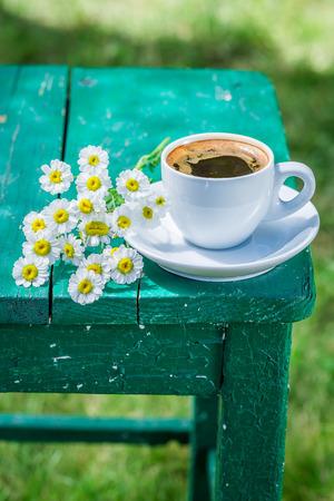 Delicious hot coffee in garden