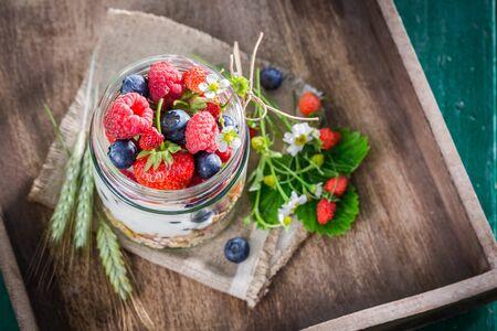 breakfast garden: Healthy breakfast with yogurt and berry fruits in garden