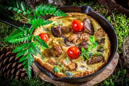 scrambled eggs: Delicious scrambled eggs with mushrooms Stock Photo