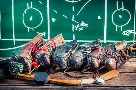 아이스 하키 경기에서의 전략 스톡 콘텐츠