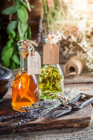 witchdoctor: Homemade tincture in bottles with herbs and alcohol
