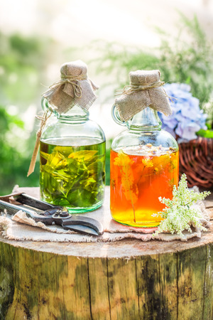 witchdoctor: Healing tincture in bottles as an alternative cure Stock Photo