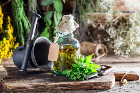 witchdoctor: Therapeutic herbs in bottles as an alternative cure Stock Photo