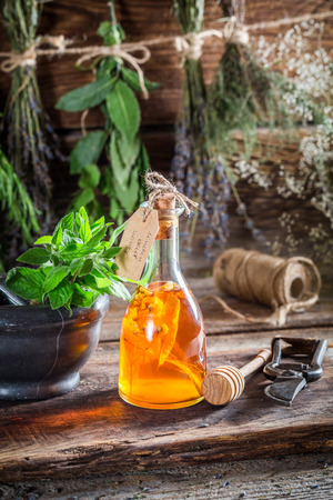 witchdoctor: Aromatic tincture with alcohol and herbs Stock Photo